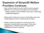 expansion of nonprofit welfare providers continues