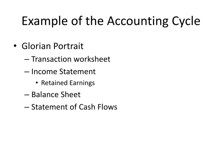 Example of the Accounting Cycle