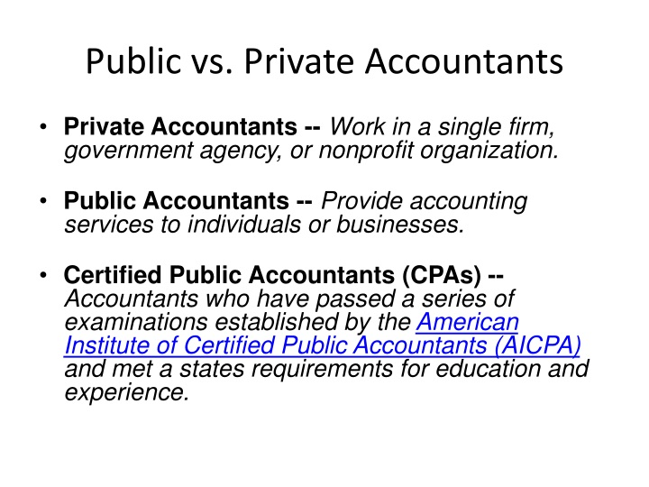 Public vs. Private Accountants