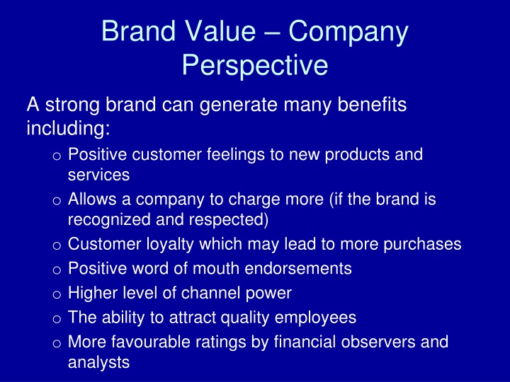 Brand Value – Company Perspective