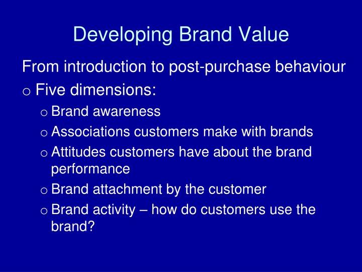 Developing Brand Value