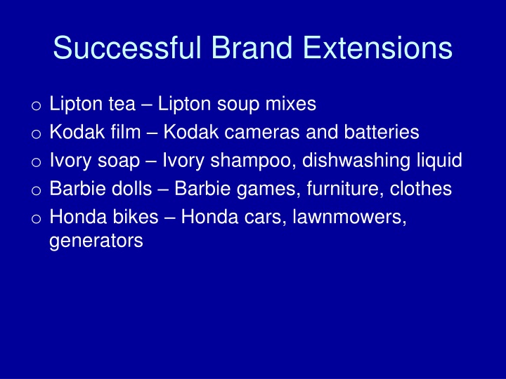 Successful Brand Extensions