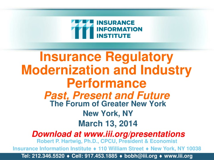 insurance regulatory modernization and industry performance past present and future n.