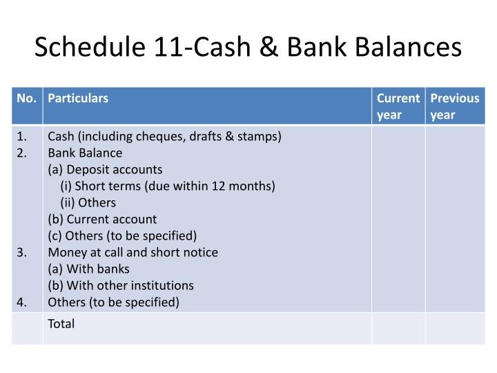 Schedule 11-Cash & Bank Balances