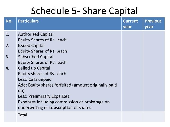 Schedule 5- Share Capital