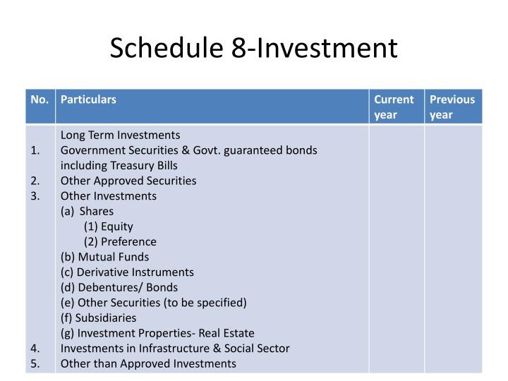 Schedule 8-Investment