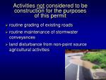activities not considered to be construction for the purposes of this permit