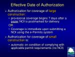 effective date of authorization