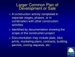 larger common plan of development or sale