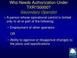 who needs authorization under txr150000 secondary operator