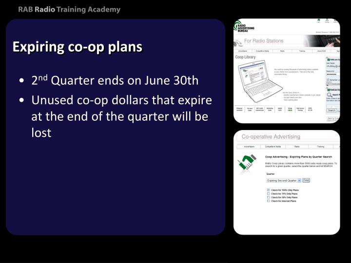 Expiring co-op plans