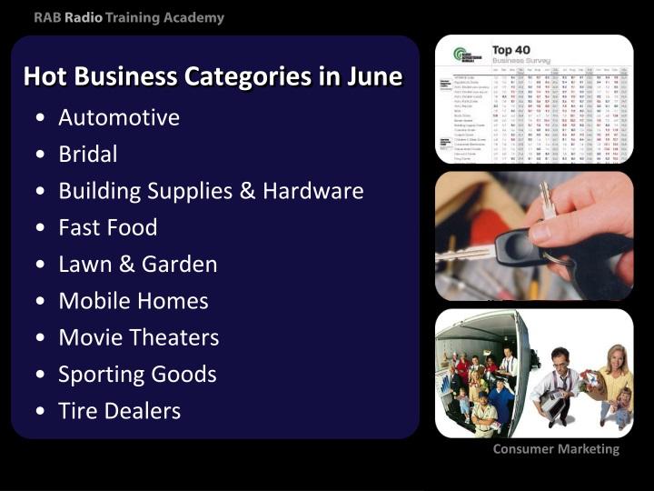 Hot Business Categories in June