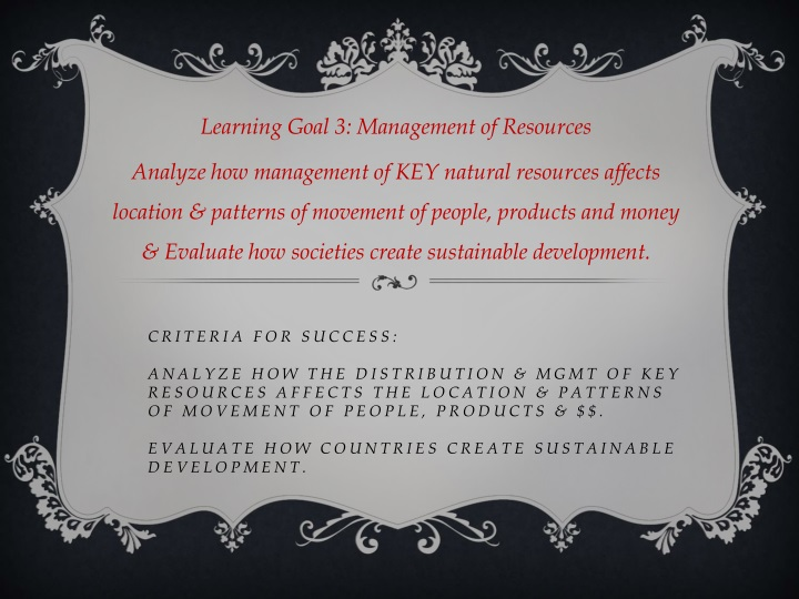 learning goal 3 management of resources analyze n.
