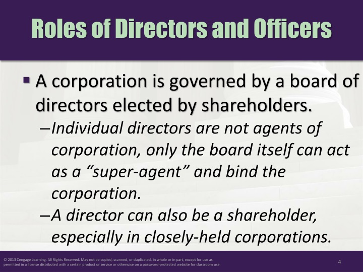 Roles of Directors and Officers