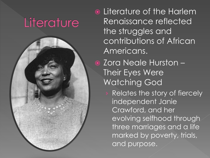 zora neale hurston and her contributions essay Had inscribed on the tombstone of zora neale hurston in this essay (first published in the world tomorrow , may 1928), the acclaimed author of their eyes were watching god explores her own.
