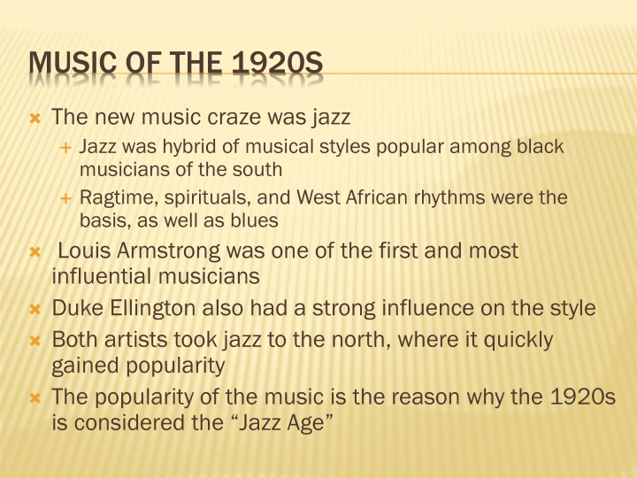The new music craze was jazz