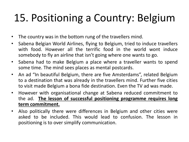 15. Positioning a Country: Belgium