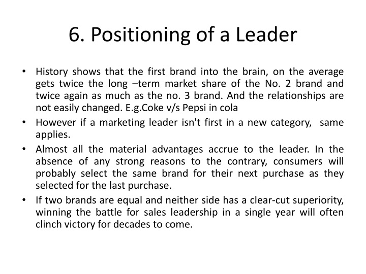6. Positioning of a Leader
