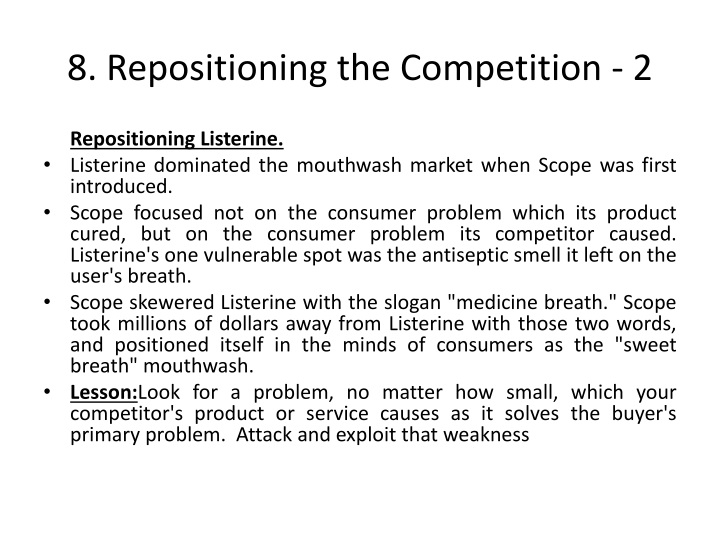 8. Repositioning the Competition - 2