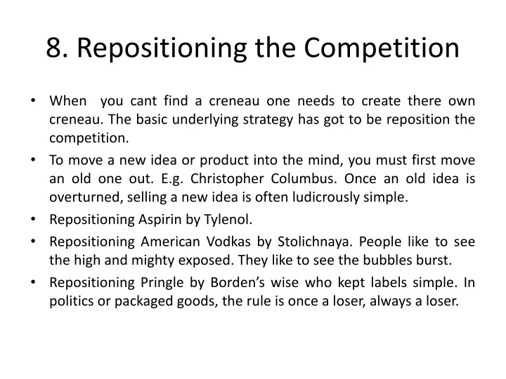 8. Repositioning the Competition