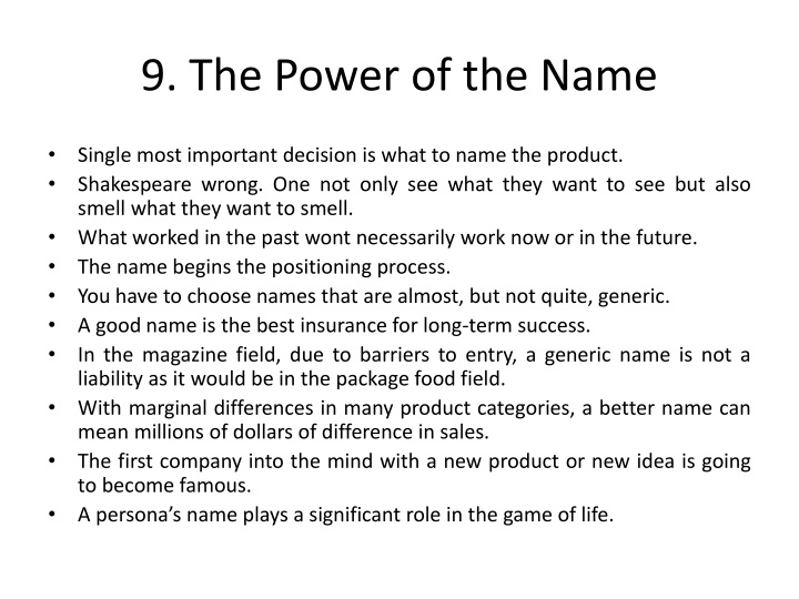 9. The Power of the Name