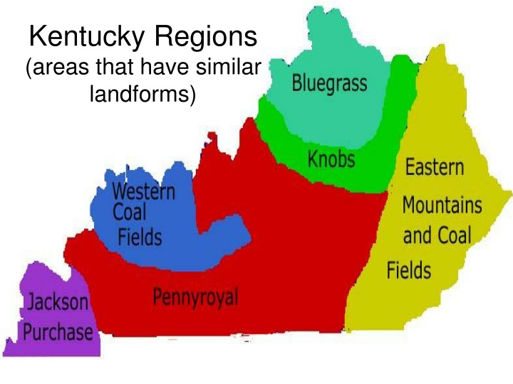 kentucky regions areas that have similar landforms n.