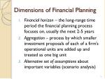 dimensions of financial planning