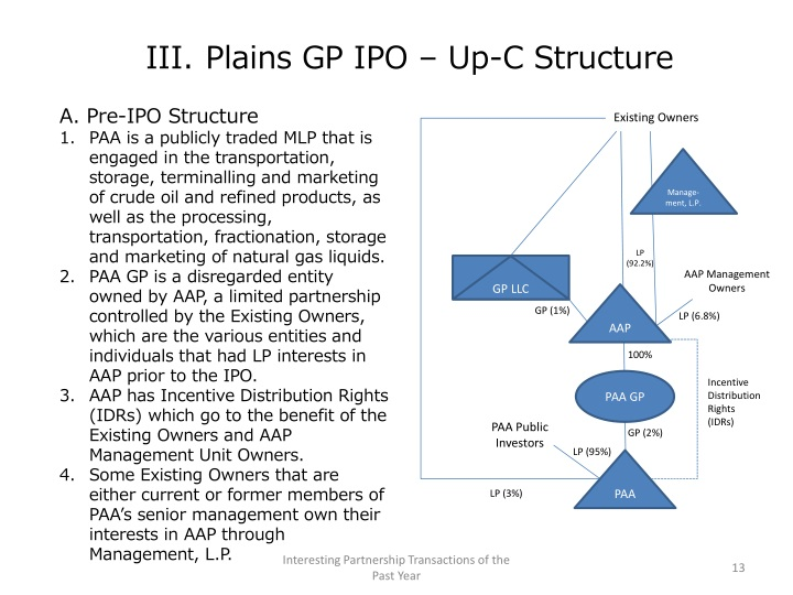 III. Plains GP IPO – Up-C Structure