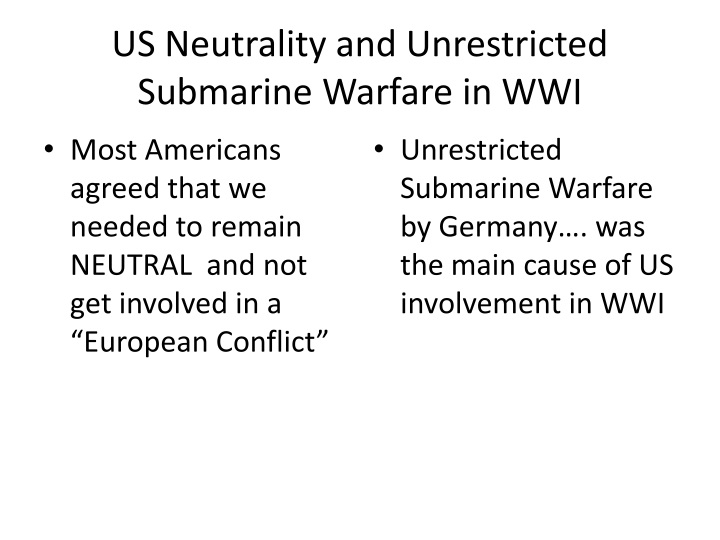 US Neutrality and Unrestricted Submarine Warfare in WWI