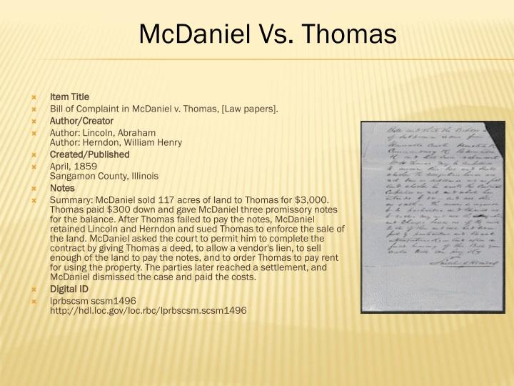 item title bill of complaint in mcdaniel v thomas n.