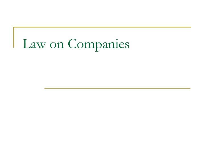 law on companies n.