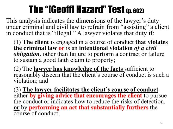 """The """"[Geoff] Hazard"""" Test"""