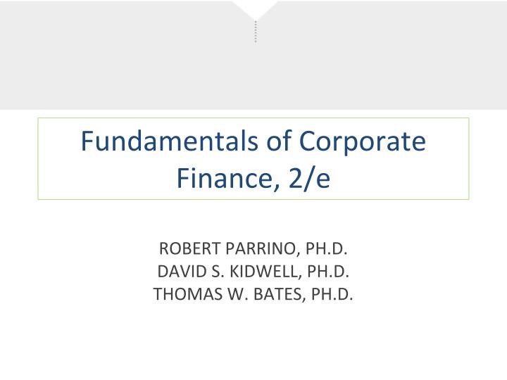 fundamentals of corporate finance 2 e n.