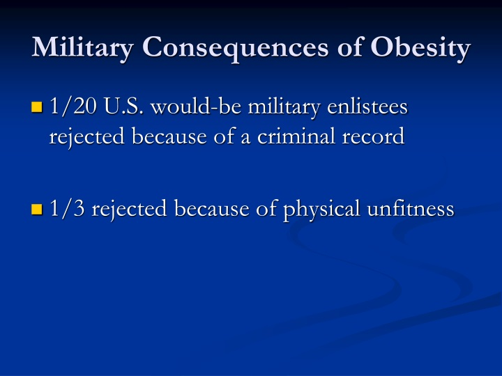 Military Consequences of Obesity