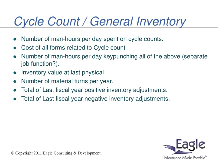 Cycle Count / General Inventory