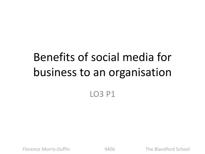 benefits of social media for business to an organisation n.