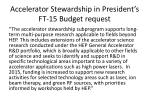 accelerator stewardship in president s ft 15 budget request