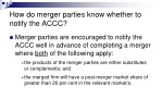 how do merger parties know whether to notify the accc