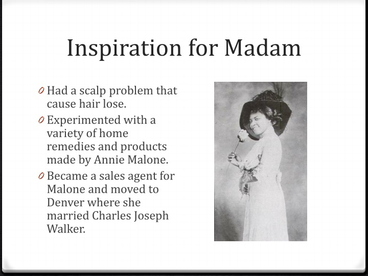 third grade literature madam c j walker Trace the life of madame cj walker as an example of entrepreneuership in american society develop a basic understanding of supply and demand, and the goals of suppliers.