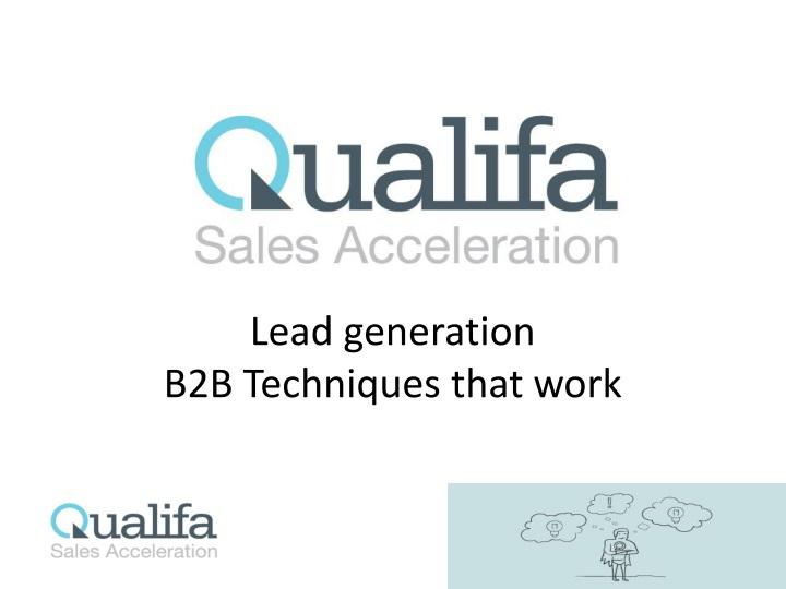 lead generation b2b techniques that work n.