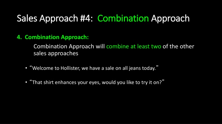 Sales Approach