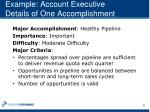 example account executive details of one accomplishment