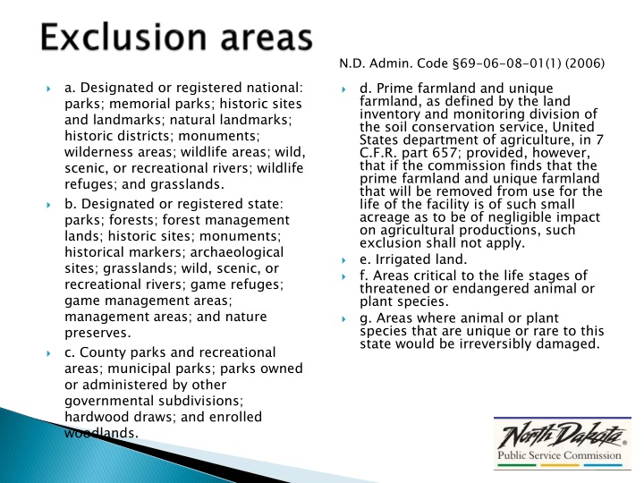 Exclusion areas