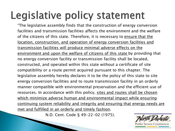 Legislative policy statement