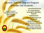 services that the migrant program provides our students