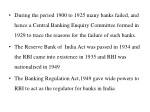 during the period 1900 to 1925 many banks failed