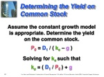 determining the yield on common stock