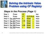 solving the intrinsic value problem using cf registry