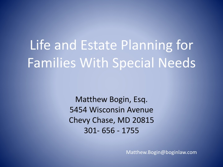 life and estate planning for families with special needs n.
