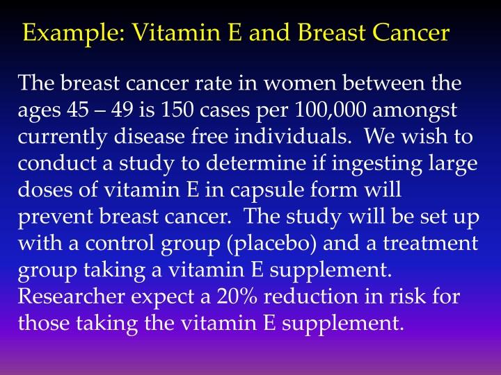 Example: Vitamin E and Breast Cancer